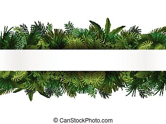 tropicale, disegno, floreale, foliage.