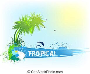 tropicale, fondo., astratto, vettore