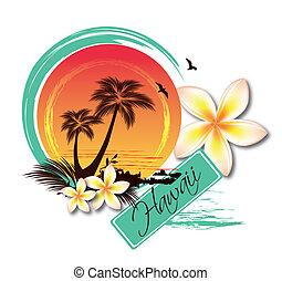 tropicale, illustrazione, isola