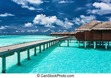 tropicale, laguna, molo, overwater, ville