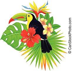 tropicale, luminoso, palma, tucano, fiori, composizione