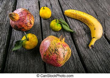 tropicale, pomegrana, succoso, frutte