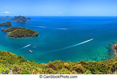 tropicale, samui, ang, aereo, cinghia, natura, isola, parco nazionale, ko, arcipelago, panoramico, mare, tailandia, vista., marino