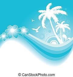 tropicale, sfondo blu