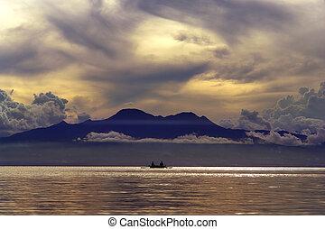 tropicale, tramonto, sopra, montagne