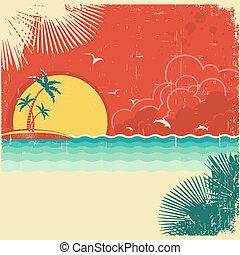 tropicale, vecchio, palme, natura, vendemmia, manifesto, decorazione, carta, struttura, fondo, isola, marina