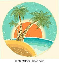 tropicale, vecchio, sfondo sole, palme, isola, esotico, icona, vettore, vendemmia, simbolo., rotondo