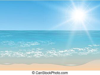 tropicale, vettore, sea.