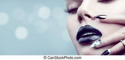 trucco, manicure, ragazza, nero, gotico, modello, moda