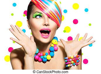 trucco, manicure, ritratto, colorito, acconciatura, bellezza