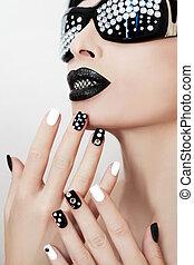 trucco, nero, manicure.