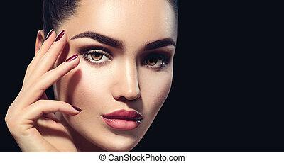 trucco, perfetto, fondo., donna, professionale, isolato, brunetta, nero, vacanza, trucco, bellezza