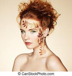 trucco, perfetto, hairstyle., elegante, ritratto, autunno, donna