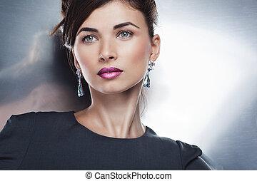 trucco, professionale, proposta, moda, bello, ritratto, modello, jewelry., acconciatura, fascino, esclusivo