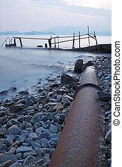 tubo, metallo, vecchio, strada, mare