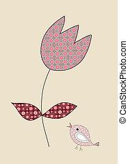 tulipano, poco, illustrazione, carino, uccello