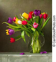 tulips, colorito, natura morta