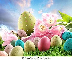 tulips, erba pasqua, uova