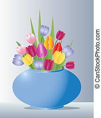 tulips, vaso