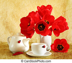 tulips, vita, ancora, rosso