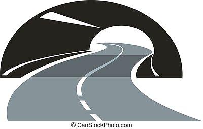tunnel, sinuosità, attraverso, strada, icona