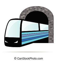 tunnel, treno, vettore, illustrazione