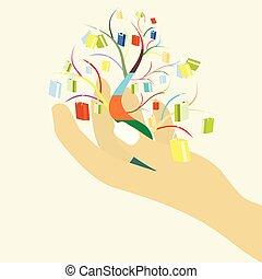 tuo, borse, shopping donna, colorito, albero grande, vendita, mano, concetto, disegno