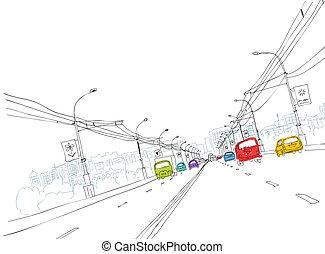 tuo, città, schizzo, traffico, strada, disegno