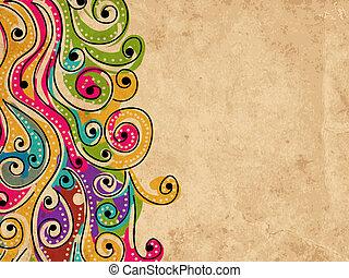 tuo, grunge, modello, astratto, mano, fondo, disegnato, onda, disegno