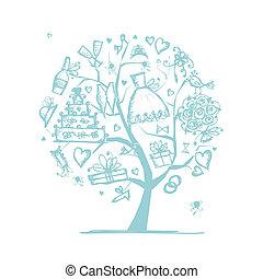tuo, matrimonio, albero, disegno, concetto