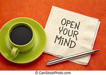tuo, mente, nota, inspirational, aperto