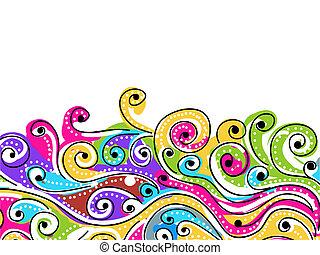 tuo, modello, astratto, onda, fondo, disegnato, mano, disegno