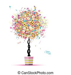tuo, palloni, vacanza, divertente, albero, felice, vaso, disegno