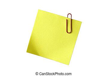 tuo, spazio, carta-clip, text., isolato, giallo, carta lettere appiccicosa, disegno, white., o, vuoto, rosso