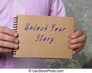 tuo, storia, stile di vita, significato, page., concetto, frase, aprire