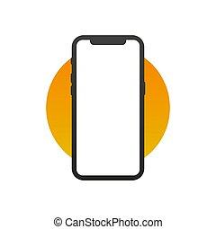 tuo, vettore, mobile, fondo., telefono, logotipo, simbolo, illustrazione, isolato, interface., bianco, domanda, appartamento, disegno, style., smartphone, icona, sito web