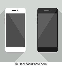 tuo, web, realistico, isolato, disegno, fondo., nero, iphone, sagoma, nuovo, bianco, sviluppo, smartphone, cellphone, collezione, telefono, uggia, style., grigio, mobile, app., luogo