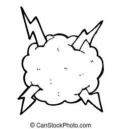 tuono, cartone animato, nuvola