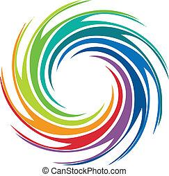turbine, logotipo, astratto, immagine, colorito