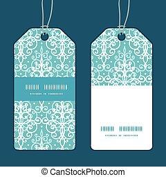 turbini blu, set, verticale, damasco, luce, cornice, etichette, vettore, striscia, modello