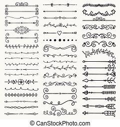 turbini, divisori, mano, vettore, nero, frecce, disegnato