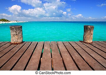 turchese, caraibico, aqua, legno, mare, banchina