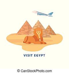 turismo, sfinge, egitto, -, adesivo, destinazione, visita, giza dispone piramide, punto di riferimento, bandiera, viaggiare