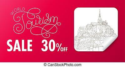 turismo, sketching., arte, banner., silhouette, linea, sticker., illustration., vendita, mont, città, saint-michel., vettore, francia, mondo, lettering., disegno, viaggiare