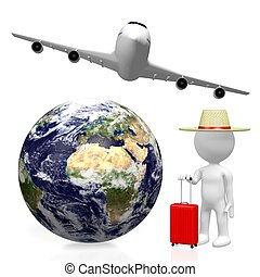 turista, concetto, viaggiare, 3d