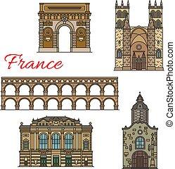turista, icone, viaggiare, viste, francia, disegno