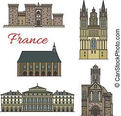 turista, icone, viaggiare, viste, limite francese