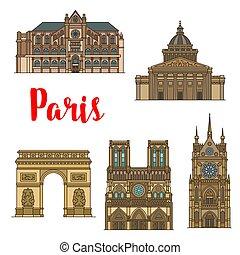 turista, parigi, viaggiare, francese, vista, punto di riferimento, icona
