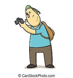 turista, photocamera., bianco, pictures., cartone animato, presa, illustrazione, divertente, appartamento, isolato, vettore, fondo., backpacker