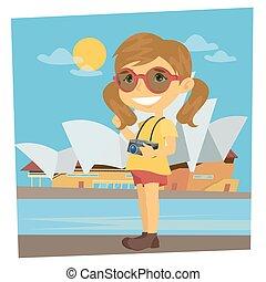 turista, travel., illustrazione, girl., vettore, traveler., macchina fotografica., tempo, ragazza